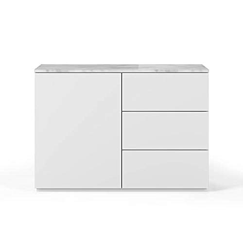 Buffets Design et élégants, Collection Join, signée TEMAHOME. - Join 120H2, Base Classique, Blanc Mat, Plateau en marbre Blanc