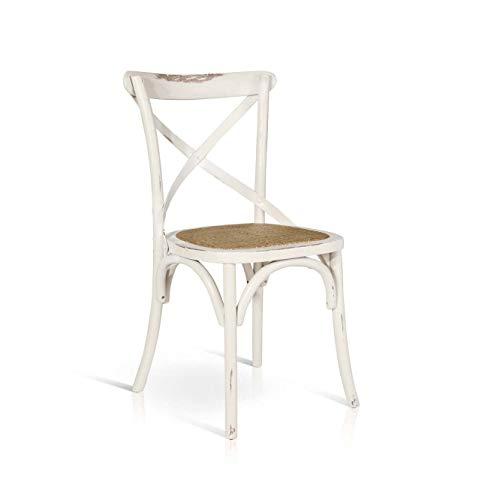Milani Home s.r.l.s. Sedia Moderna di Design in Legno Bianca con Seduta in Paglia per Arredo Casa Cucina Sala da Pranzo Ristorante Bar Bistrot