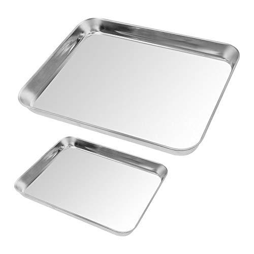 2 Stück Backblech Edelstahl Backformen für Toaster Plätzchen Backblech Healthy & Superior-Spiegel-Ende, Spülmaschinenfest Backbleche Küchenhelfer