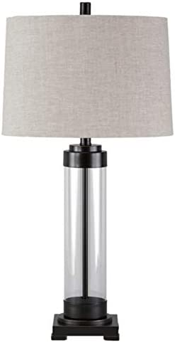 Signature Design by Ashley Talar Glass Table Lamp with Drum Shade Clear Bronze Finish product image