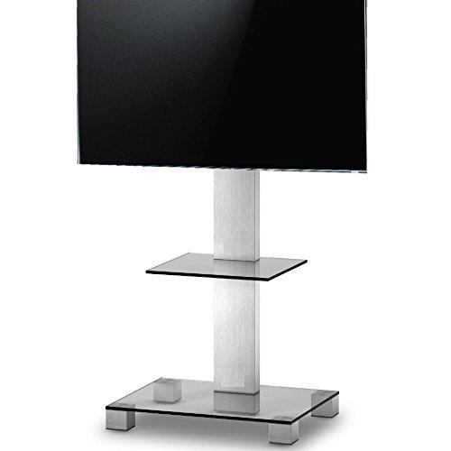 Ro & Co P1081-TG :Meuble TV avec etage. Verre transparent Chassis Gris. Hauteur de 108 cm