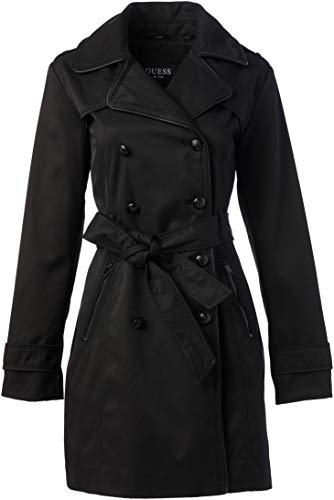 GUESS Women's Ladies Double Breasted Trenchcoat, Black, Large