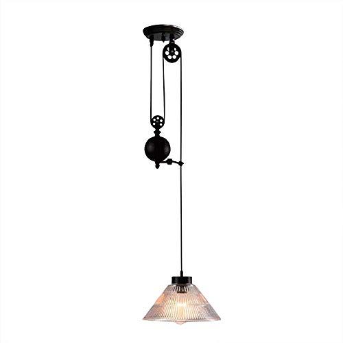 Luminarias, 212, Industrial vintage colgante luz iluminación de techo lámpara ajustable e27 zócalo con cono vidrio acanalado para la casa interior sala de estar barra de restaurantes Cafetería club de
