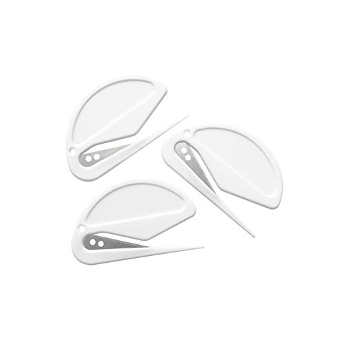 3 Pack Letter Openers Envelope Slitters Plastic Mail Opener with Blade Paper Knife Pure White