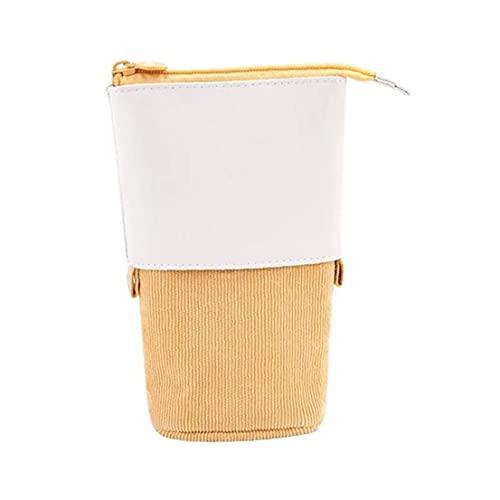 Lápiz telescópico titular telescópica de escritorio caja de la PU de pie del transformador Bolsa Multifuncional Pop-up maquillaje amarillo del bolso, la caja de lápiz