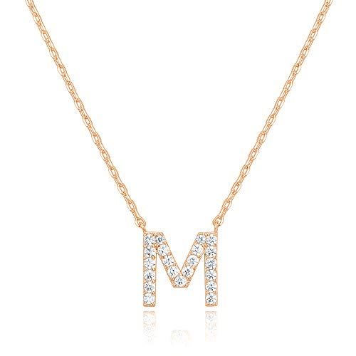 PAVOI 14K Yellow Gold Plated Cubic Zirconia Initial Necklace | Letter Necklaces for Women | M Initial