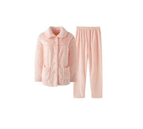 Fleece-Schlafanzug für Damen, Winter-Pyjama, lässig, weich, Flanell, Hausbekleidung, Pyjama, 3XL Gr. Medium, Mdf882076