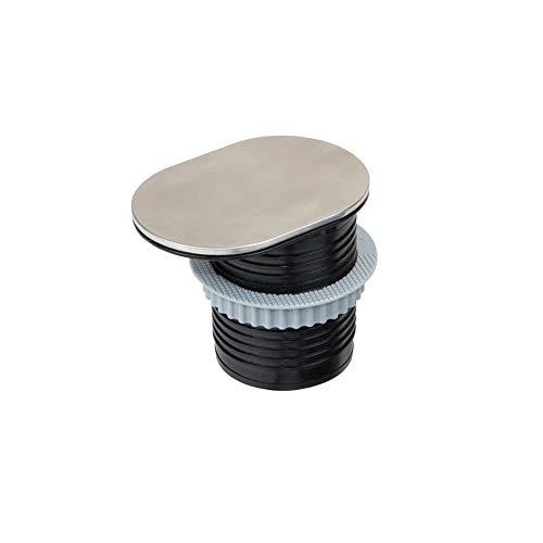 Oferta de Emuca - Regleta con tapa multienchufe con 1 enchufe schuko EU y 1 puerto USB, torre de enchufes vertical empotrable para encimera de cocina o escritorio