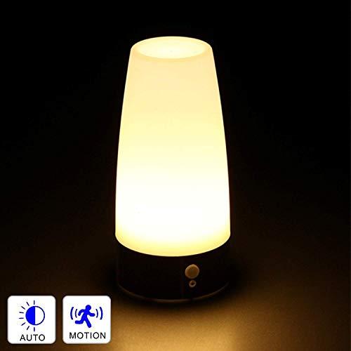 Dewanxin LED Bewegungsmelder Tischleuchte Nachtlicht LED-Tischlampe mit kabellosem PIR-Bewegungssensor verwenden 3x 1,5VAAA Batterie[Energieklasse A+] (Rund)