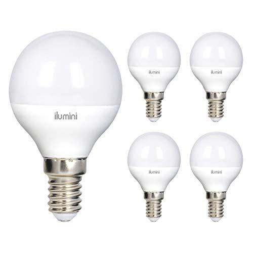 ilumini Bombillas led G45 Esférica, Casquillo E14,5W equivalente a 40w, 3000K Luz Cálida, 470 Lúmenes [Clase de eficiencia energética A+] PACK DE 5