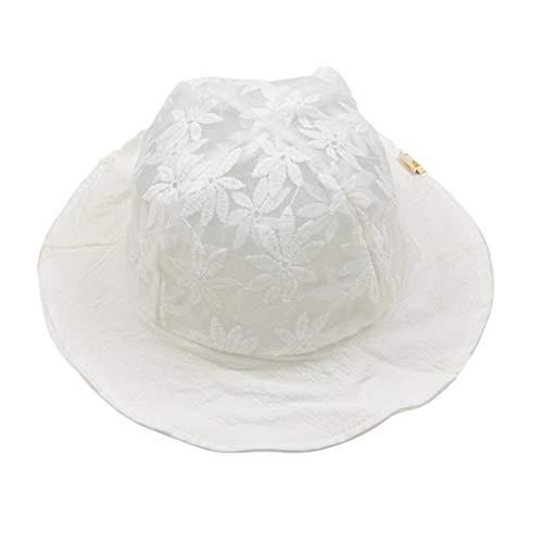 FENICAL Spitze Lässig Sonnenhut Blume Fischerhüte Sommer Frühling Caps Eimer Hut für Baby, Kleinkind (weiß)