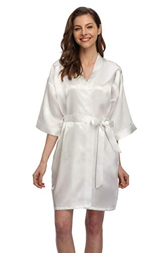 Women's Short Satin Kimono Robe for Bride and Bridesmaids Party White XXL