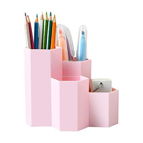 Surmounty Organizador de lápices hexagonal, multifuncional, soporte para lápices, artículos de papelería, pinceles de maquillaje, pintalabios, artículos de oficina
