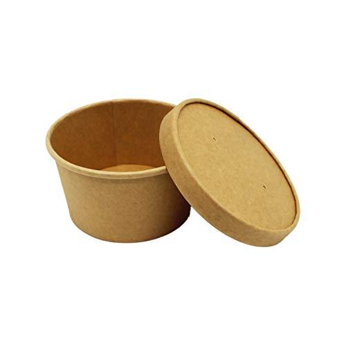BAMI EINWEGARTIKEL 500 Stück Soup to Go Suppenbecher Suppenschale Thermobecher MIT Deckel, Braun, Pappe, 12oz / 350ml, geeigent für Suppe, Nudeln, Eintopf etc.