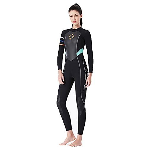 CXQA Larga Traje de Manga para Las Mujeres, de 3 mm de Neopreno Caliente, Deportes de Agua para la natación Traje de Costuras de Vela Jet ski,Negro,XL