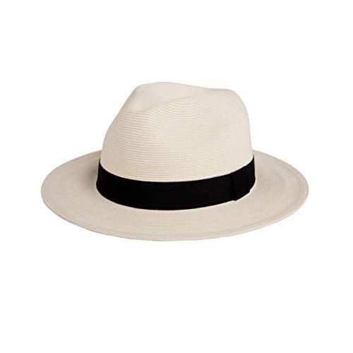 Pineapple&Star Sun Straw Fedora Beach Hat Fine Braid UPF50+ for Both Women Men(Large, White)