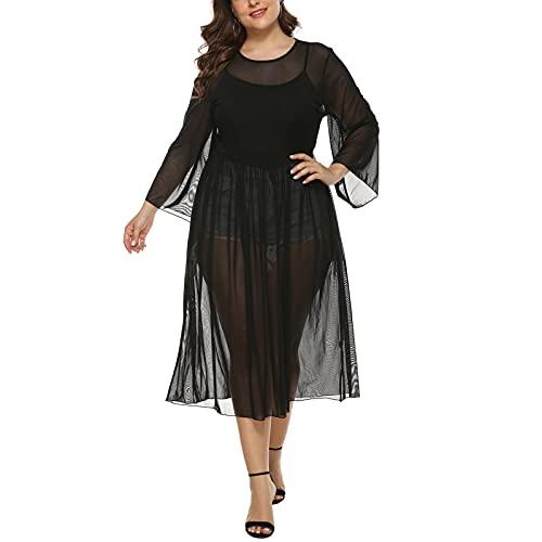 Kvinnor Mesh Se Klänning Dam Kortärmad Sheer Cover Up Oversize Baggy T-shirt Badkläder Strandklänning black-One size