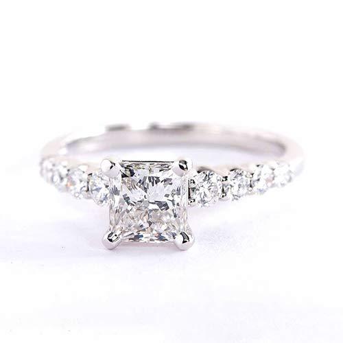 Anillo de compromiso de oro blanco de 18 K con diamante de corte princesa graduado VS2 H de 1,48 quilates