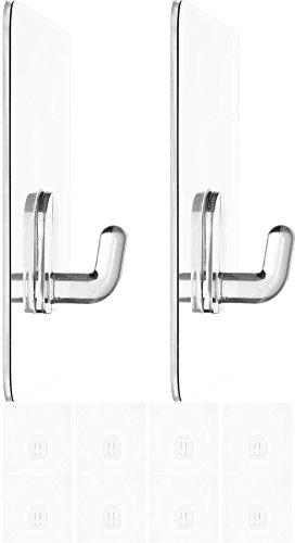 Zauber-Haken 10x klein 6,8cm | ohne Bohren | flexibel einsetzbare Tür-Haken | Wand-Haken für Geräte, Utensilien | Kleider-Haken für Jacken, Schals, Gürtel | wiederverwendbare Badezimmer-Haken | 2,5kg belastbar | transparent