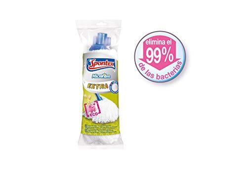 Spontex - Fregona Microfibre Extra, Blanco, Mediano (72110050)