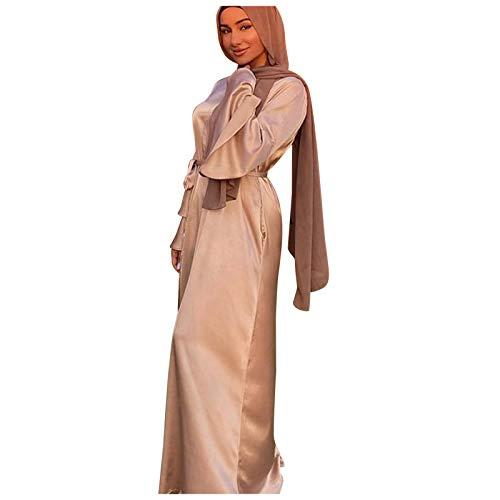 WUSIKY Muslimisches Maxi Kleid mit Hijab für Damen - Langarm Abaya Dubai Kaftan Ethnische Robe mit Blumen Muster Kleider für Ramadan