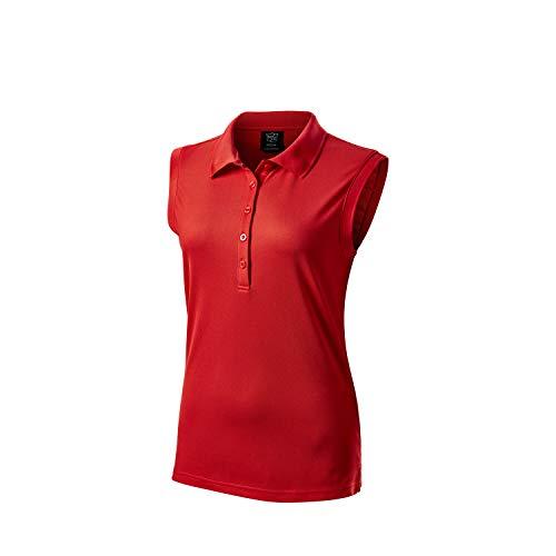 Wilson Staff Femme Polo de Golf, Sans Manches, WILSON STAFF SLEEVELESS POLO, Polyester, Rouge,...