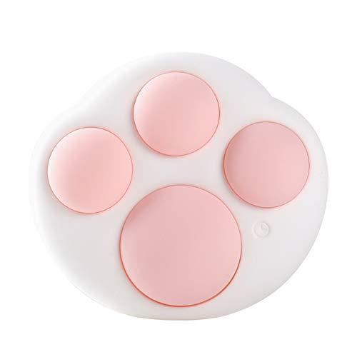 Joocyee Cat Paw Silicona Led Luz Nocturna USB Recargable Lámpara Regulable 7 Colores Que cambian, Cute Cat'S Paw Silicona Pinch Light Protección Ocular Temporización Luz LED de Silicona