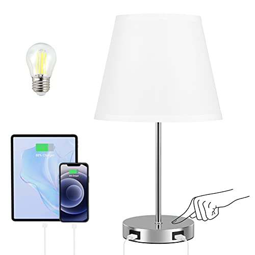 Touch Control Table Lamp, Kakanuo White Bedside Lamp with 2 USB Ports, 3 Way Dimmable Nightstand Lamp for Living Room and Office (E27 LED Bulb Included)