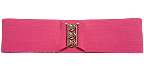 """1950s Style 3"""" Wide Elastic Cinch Belt for Women Junior and Plus Sizes Handmade in the USA - Hot Pink XS/S"""