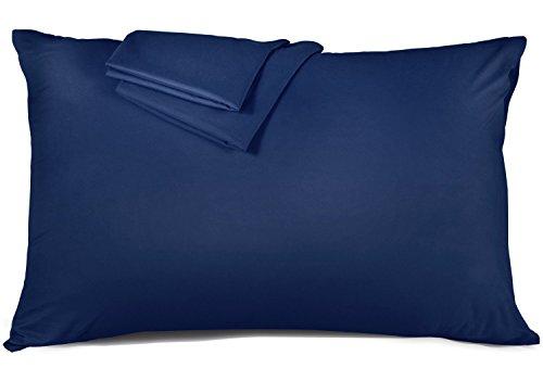 ネヤス 枕カバー 高級棉100% 全サイズピローケース ホテル品質 10色選べる サテン織 300本高密度 防ダニ 抗菌 防臭 43x63cm ネイビー