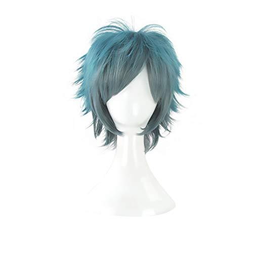 Echthaar Perücke Herren Blue Perücke Cosplay Kostüm Wellenartige Wigs Pony Synthetische Haarparty Hitzebeständigkeit Haarteile (Color : Blue)