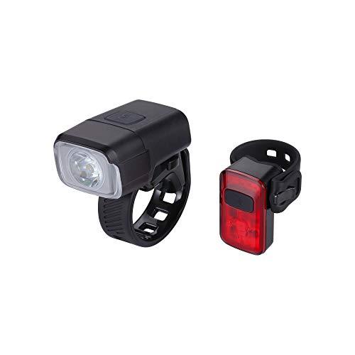 BBB Fahrradlicht NanoStrike Spark 2.0 USB wiederaufladbares Licht-Set, vorne und hinten, wasserdicht, für MTB Urban Road 400 Lumen, BLS-164, Schwarz