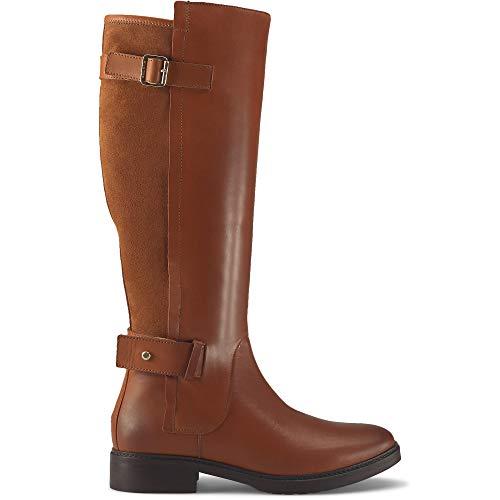 Tommy Hilfiger Damskie nowoczesne buty Suede Longboot wysokie kozaki, brązowy - Braun Leather Brown 201-37 eu