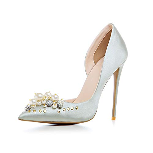 DEAR-JY Frauen High Heels,Damen-Pumps,12CM Elegante sexy Spitze Zehen Asakuchi Stiletto Absatz Pearl Cinderella Schuhe,Hochzeitsfeier Club Abendkleid Court Schuhe große Größen Pumps,Silber,43 EU