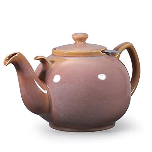 Urban Lifestyle Teekanne/Teapot Liverpool Klassisch Englische Form aus Keramik 2 L (Sandfarbe, mit Filter)