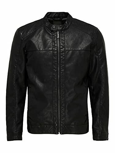 ONLY & Sons Onsmike Pu Racer Jacket Otw Giacca, Nero (Black Black), Medium Uomo