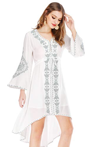 R.Vivimos Womens Cotton Embroidered High Low Long Dresses...