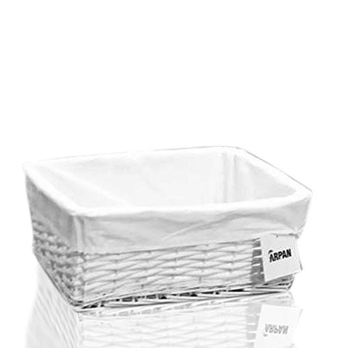 Arpan Medium White Wicker Gift Hamper Storage Basket with White Cloth Lining