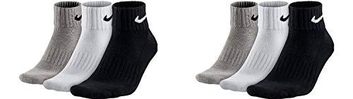 Nike Socken Herren Damen 6 Paar One Quater Socks Kurze Socke Knöchelhoch Weiß Schwarz Gemischt (weiss grau schwarz) Größe 34 36 38 40 42 44 46 48 50, Farbe:grau, Grösse:38-42