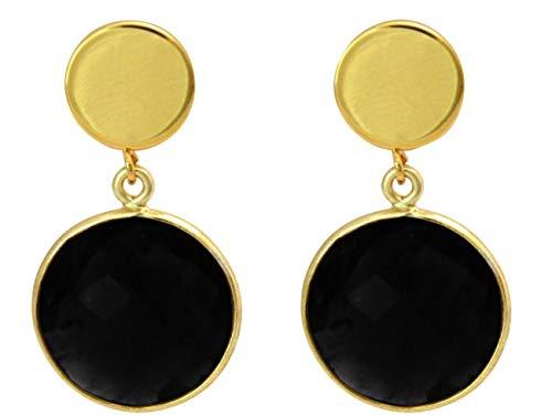 Gemshine Ohrringe mit schwarzen Onyx Edelsteinen in 925 Silber oder hochwertig vergoldet. Nachhaltiger, qualitätsvoller Schmuck Made in Spain, Metall Farbe:Silber vergoldet