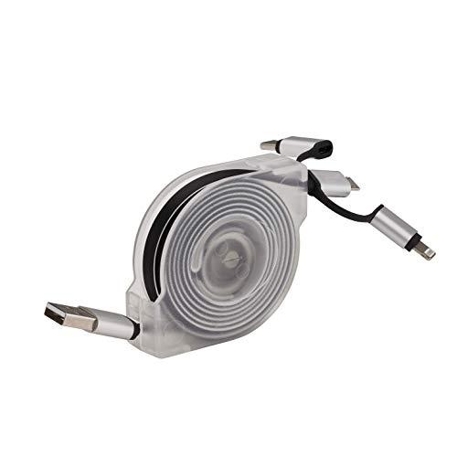 DEBFLEX 500015 Ladegerät mit Mehreren Aufsätzen USB 3 in 1 – Kabel mit Multi-Ladekabel – Kabeltrommel Universal Länge 2 m – 3 Verschiedene Anschlüsse, weiß, 30