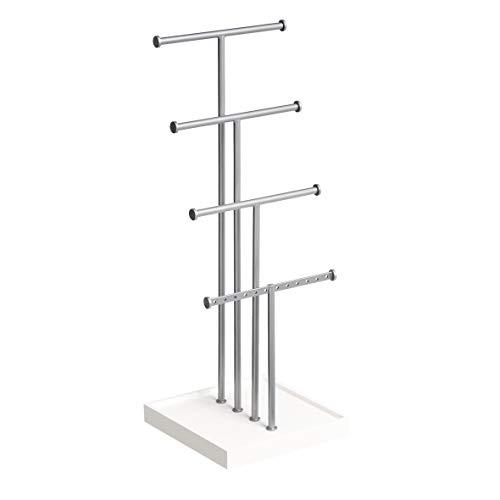 Amazon Basics - Schmuckständer, Baum-Design, 4 Ebenen, Weiß/Nickel