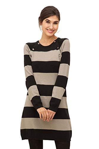 Milker Liddy - Stillkleid Umstandskleid aus Wolle-Viskose-Strick schwarz-beige gestreift Gr. L