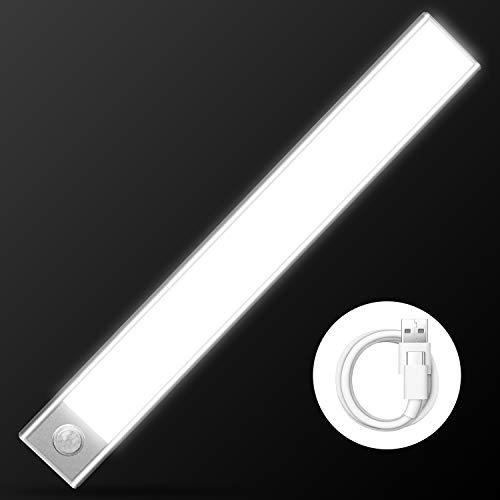 Cobiz Luces Para Armarios - Luz Con Sensor De Movimiento - Mejorada SUPER BRILLANTE 70 LED Luz Sensor Movimiento- Inalámbrico USB Recargable Luces Para Armarios | Luz Led Armario 6000k (Blanco)