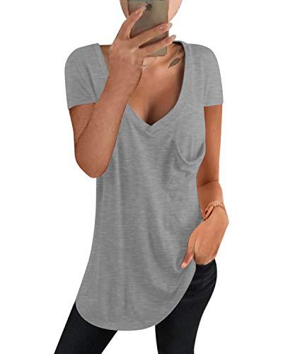 kenoce Camiseta Mujer de Manga Larga Blusa Cuello en V Casual Manga Corta Tshirt Sexy Color Sólido Elasticidad Pullover Blusas F-Gris M