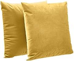 "Amazon Basics 2-Pack Velvet Fleece Decorative Throw Pillows - 18"" Square, Mustard Yellow"