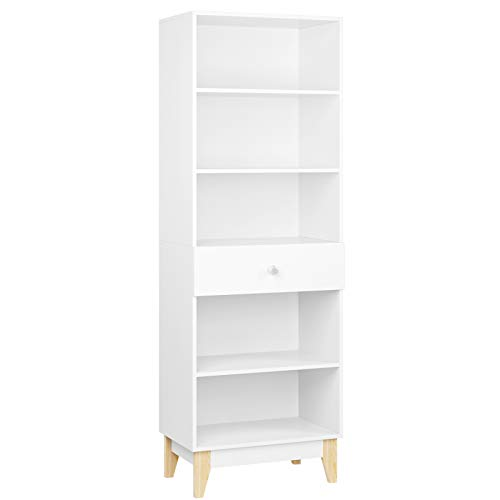 189cm Librería Estantería con 1 Cajón Estantería Alta para Libros Mueble Madera Almacenje para Salón Oficina Cocina con Patas Blanco