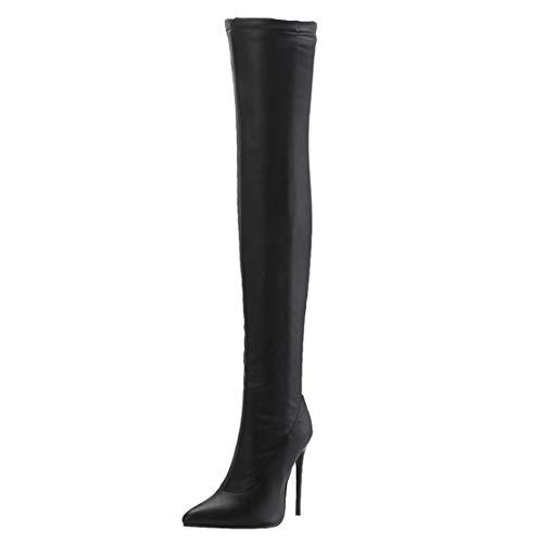 MISSUIT Damen Stiletto Overknee Stiefel High Heels Spitz 12cm Absatz Boots Reißverschluss(Schwarz-2,38)