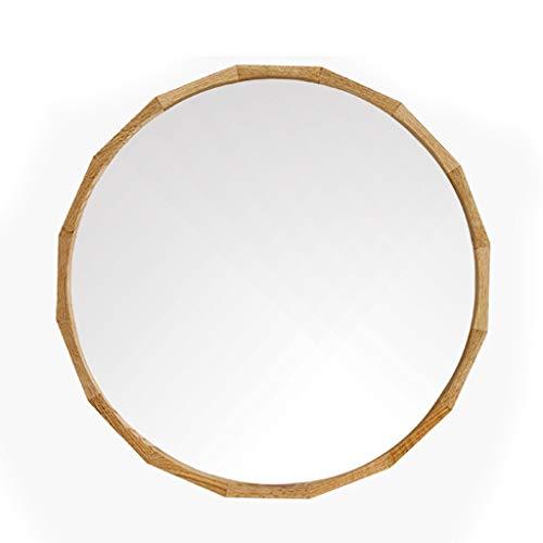 Miroirs de salle de bain Miroir Mural Miroirs Ronds Miroir De Chambre À Coucher Miroir De Salle De Bain Miroir De Salon Cadre En Bois (Color : Wood color, Size : Diameter 50cm (20 inches))