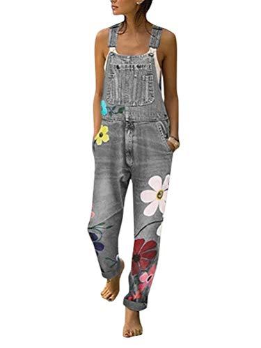 Onsoyours Salopette da Donna in Jeans con Stampa a Fiori Baggy Boyfriend Jumpsuit Tuta Denim Tuta Pantaloni Pantaloni Lunghi Jeans Senza Maniche con Tasche C Grigio Small